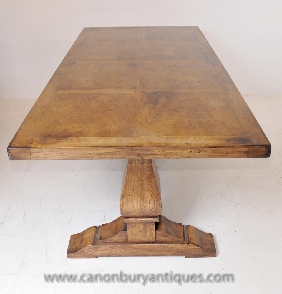 English Farmhouse Oak Refectory Table Trestle Tables