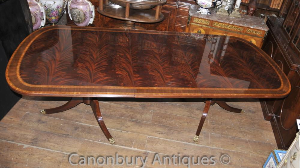 Regency Extending Pedestal Dining Table Flame Mahognay English