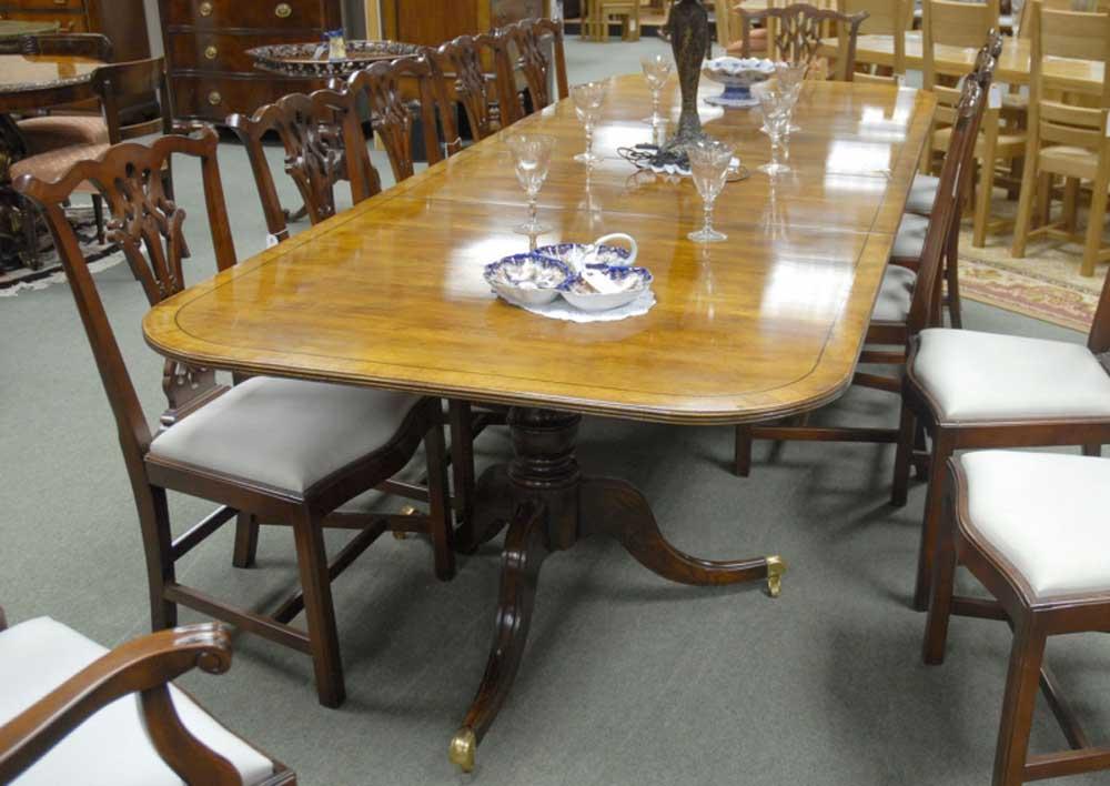10 foot English Regency Walnut Dining Pedestal Table