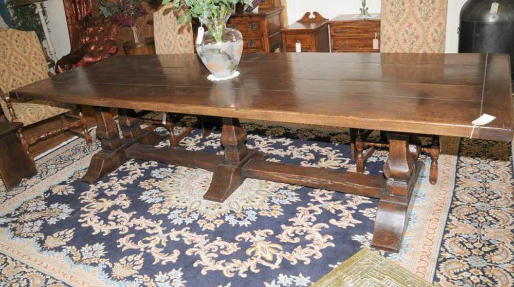 10ft Mead Oak Trestle Refectory Dining Table