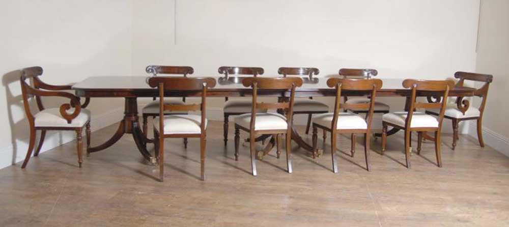 13 ft Regency Pedestal Table & William IV Dining Chair Set
