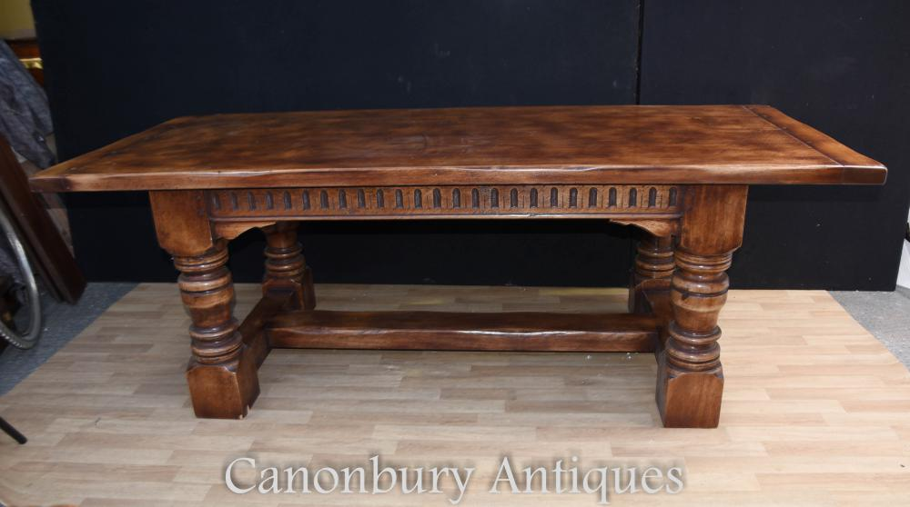 7 ft English Farmhouse Refectory Kitchen Table Oak Tables