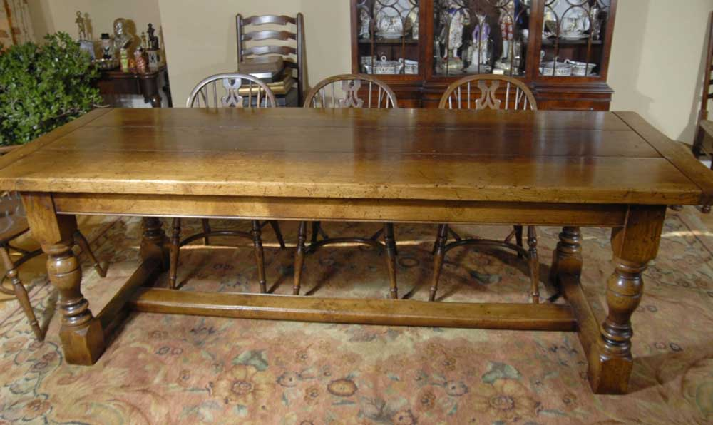 8 ft English Oak Farmhouse Refectory Table Antique Dining Tables
