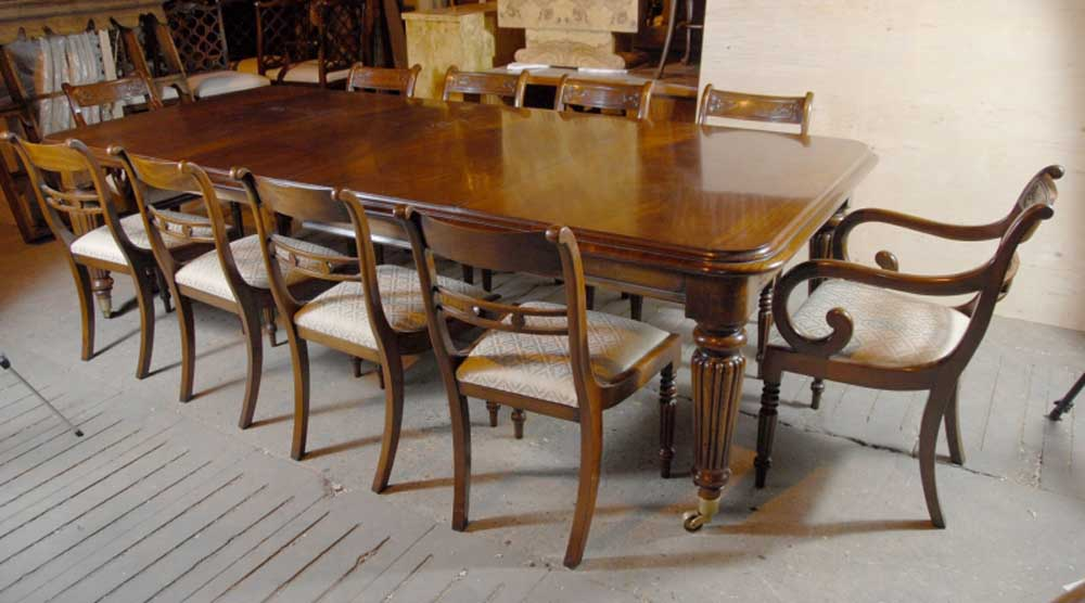 9 ft English Victorian Dining Table & 10 Regency Chairs