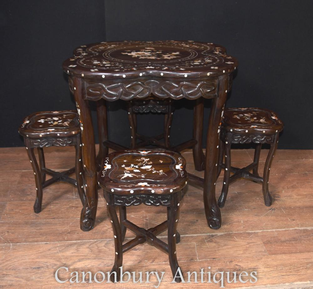 Antique Chinese Table Stool Dining Set Mother of Pearl Inlay Hardwood