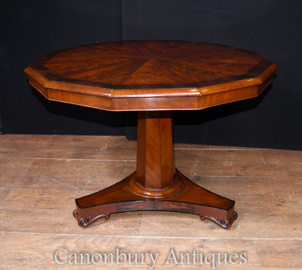 Biederemeier Walnut Decagonal Dining Centre Table