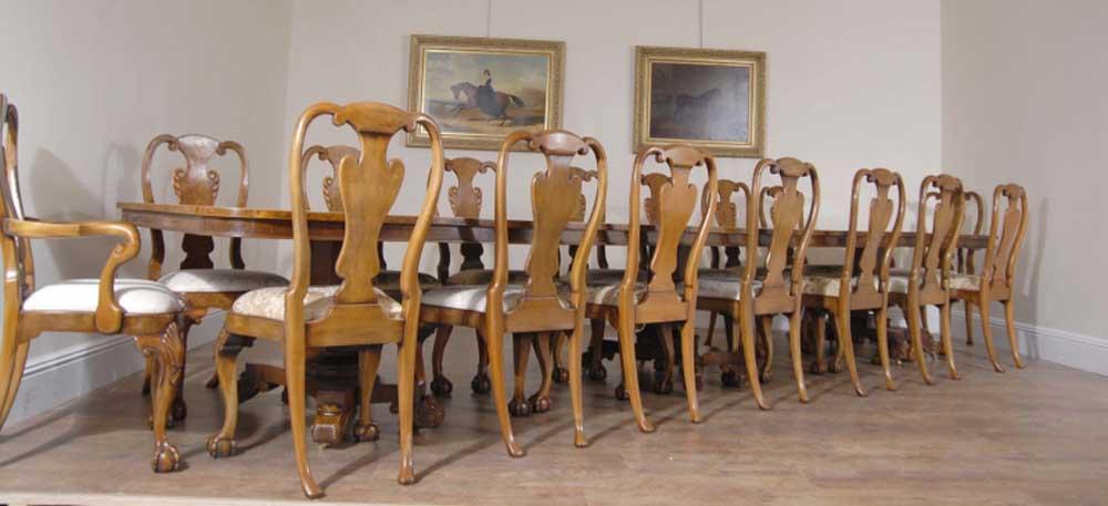 English 16 ft Walnut Georgian Pedestal Dining Table Bullock Base