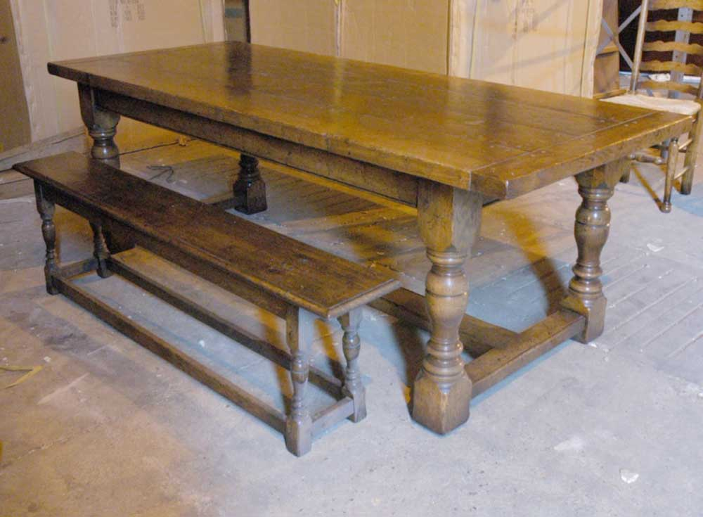 English Abbey Oak Rustic Refectory Table Bench Dining Set