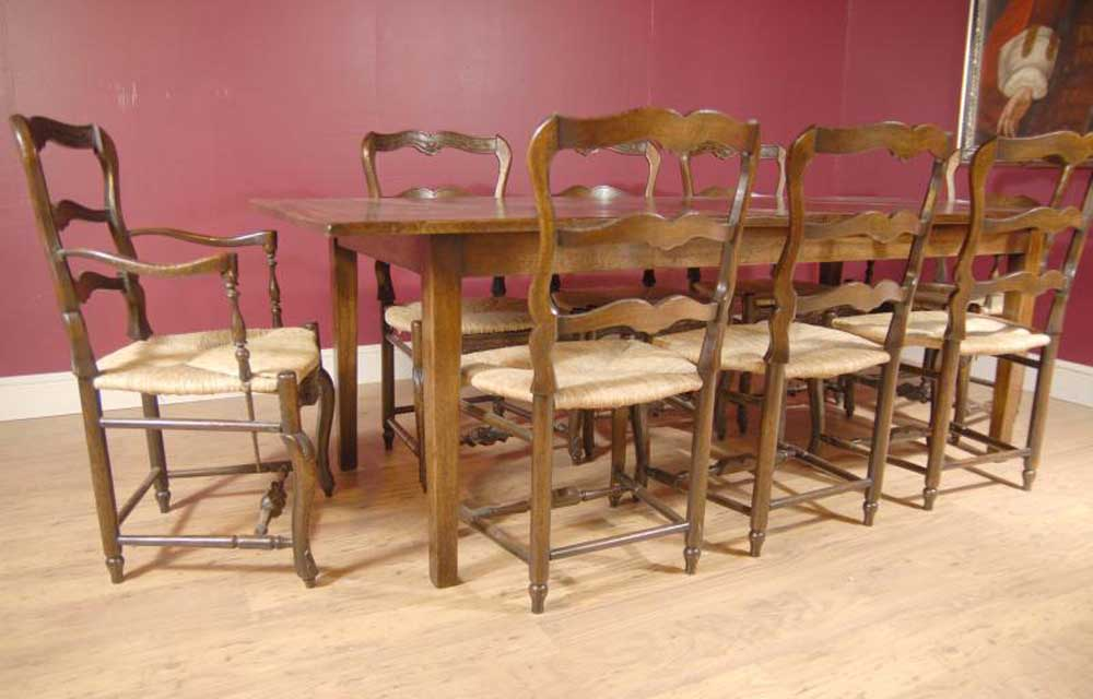 English Oak Ladderback Chair & Refectory Table Set Dining