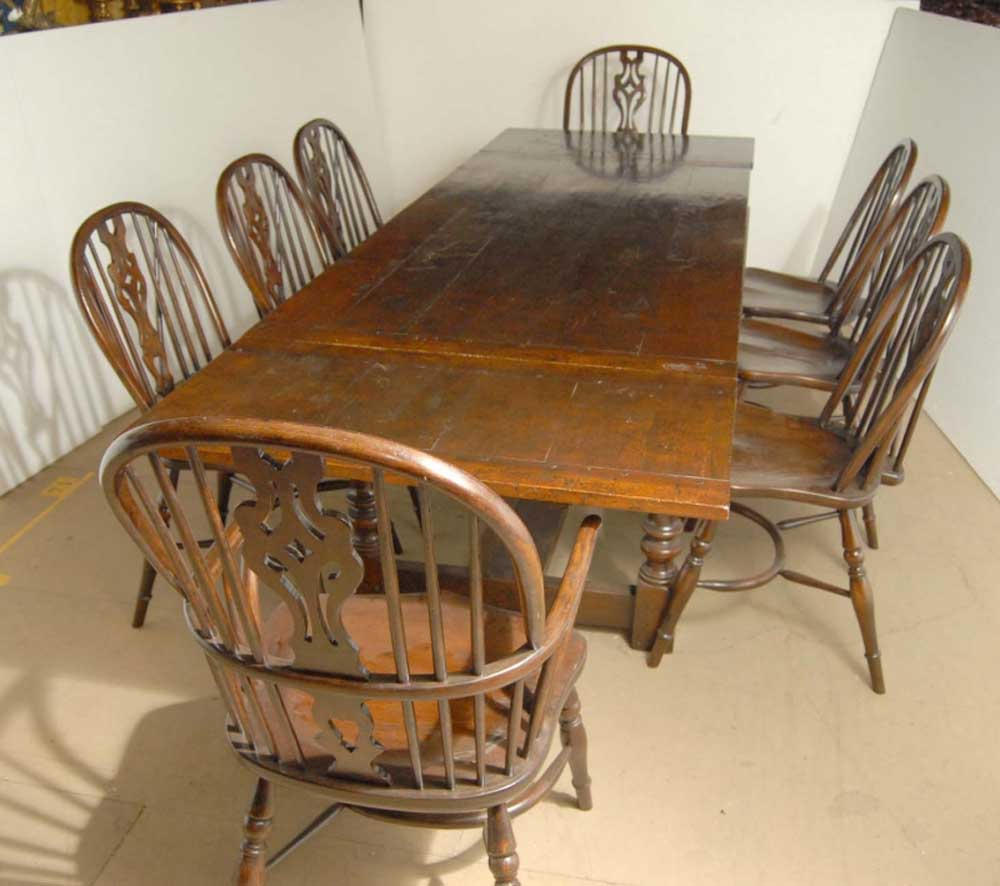 English Oak Windsor Chair & Rustic Refectory Table Set