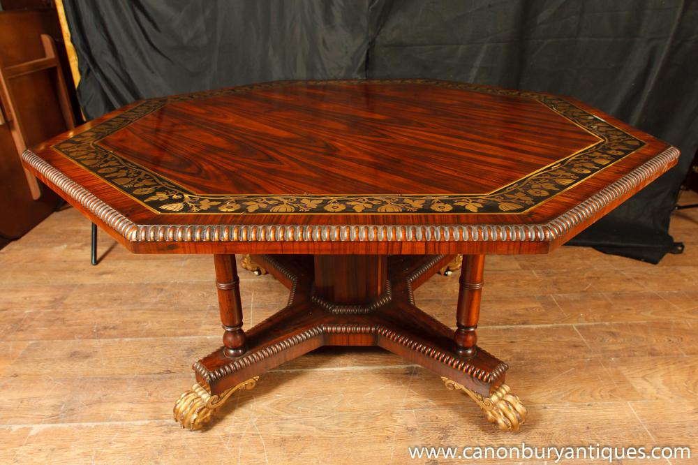 English Regency Octagonal Centre Table Dining Brass Inlay