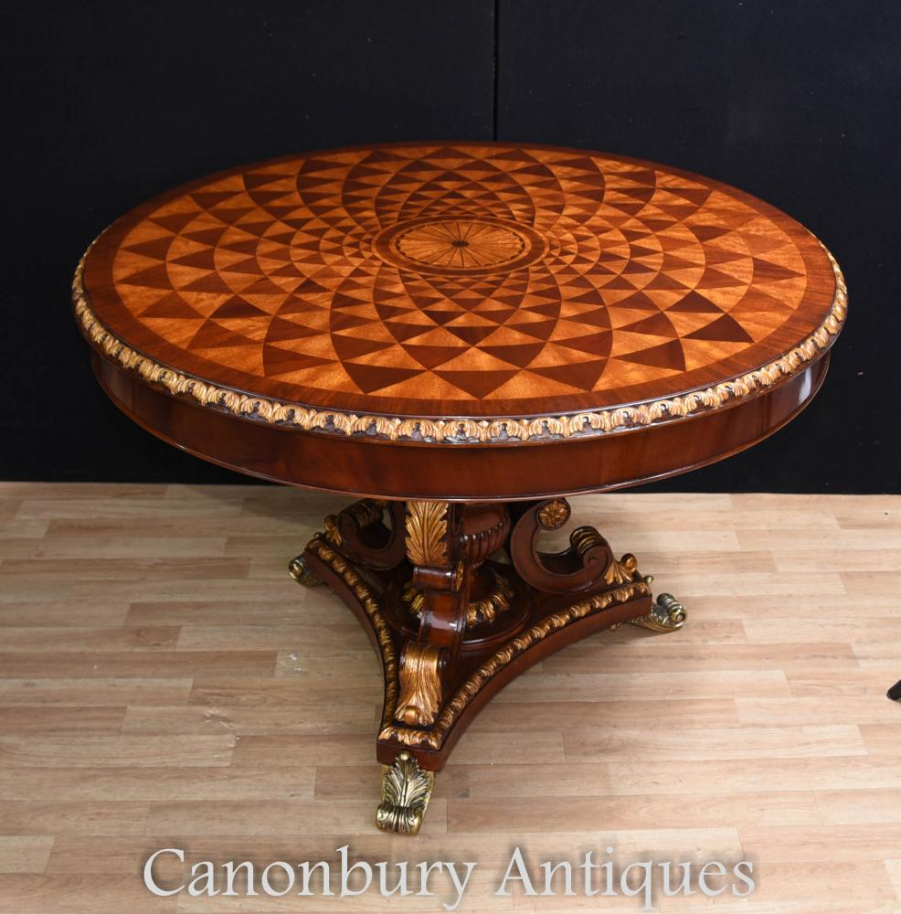 English Regency Spyrograph Centre Table Round Dining Tables
