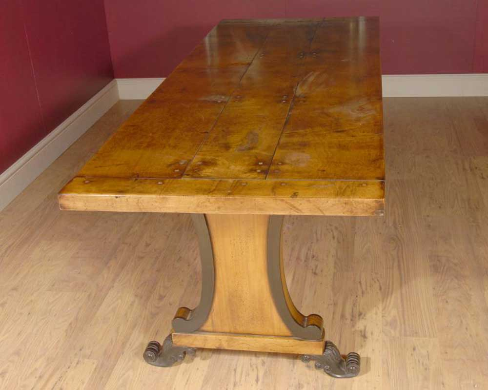 English Sycamore Country Farmhouse Refectory Dining Table