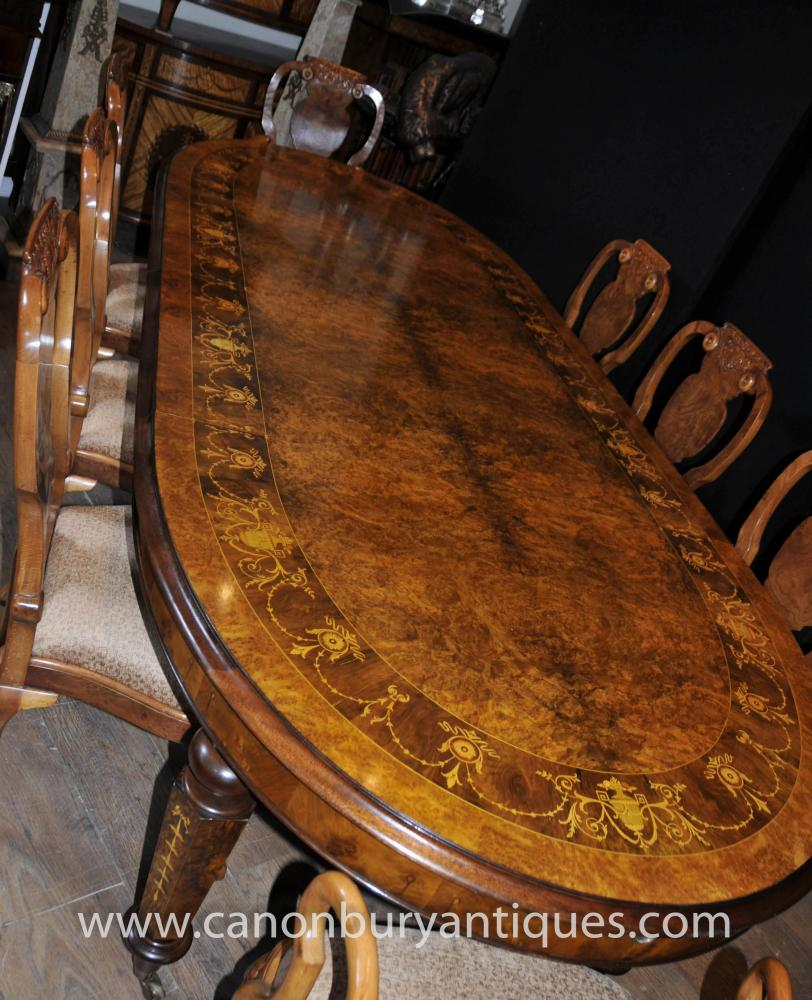 English Walnut Dining Set Queen Anne and Victorian Table