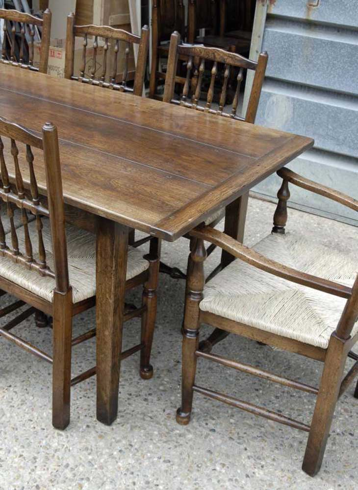 Farmhouse Refectory Table & Set 8 Spindleback Chairs Kitchen Set