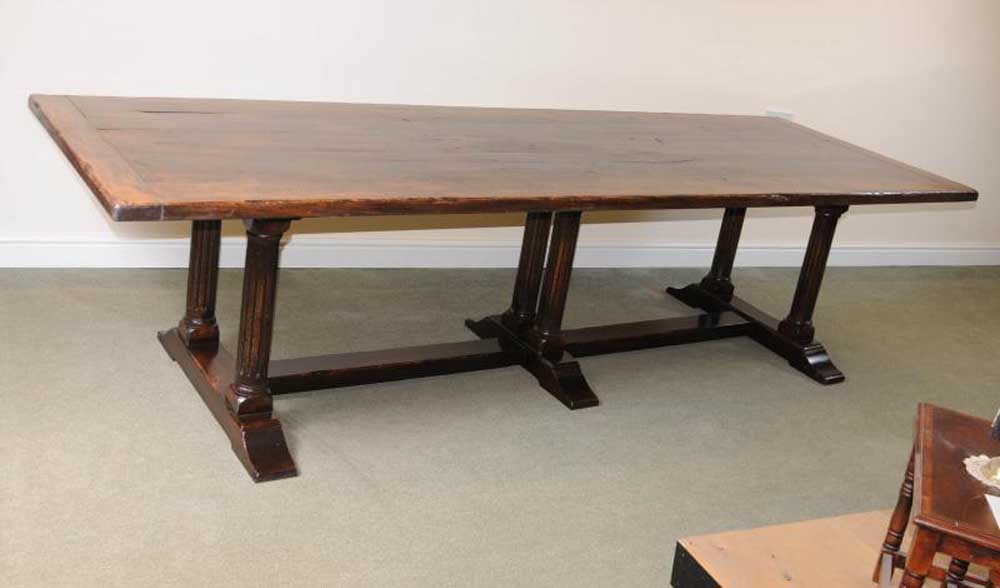 Large Italian Refectory Table Beach Wood Farmhouse Kitchen Trestle Dining