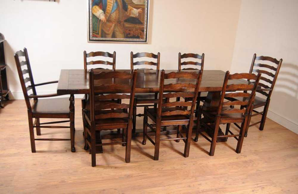 Oak kitchen dining set ladderback chairs refectory table suite antique dining tables - Ladder back dining room chairs ...