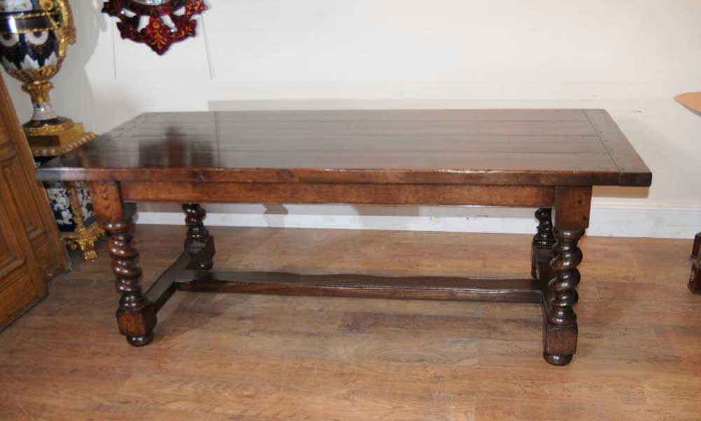 Oak Refectory Table Barley Twist Legs Tables
