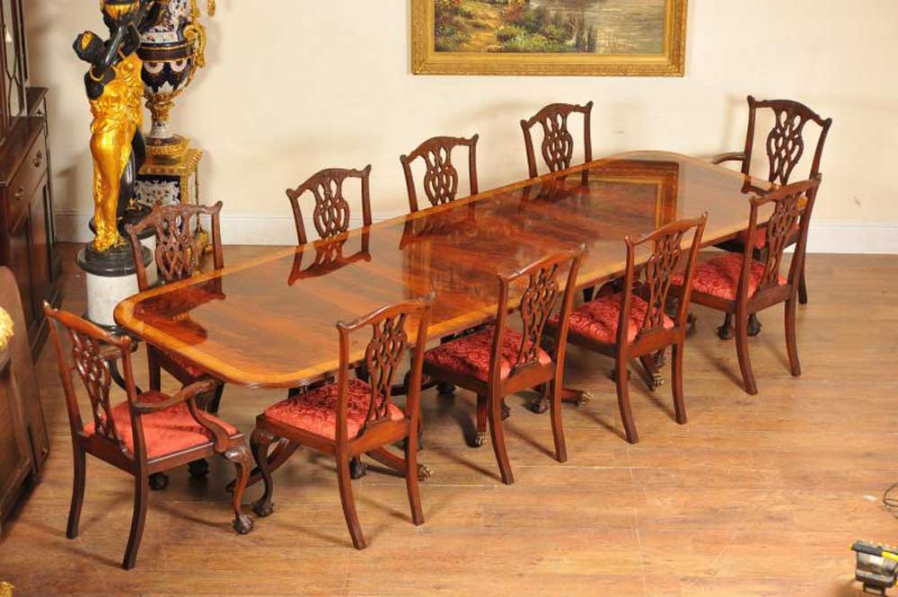 0c3d3e768d902 Regency Dining Set Pedestal Table and 10 Chippendale Chairs Mahogany Suite