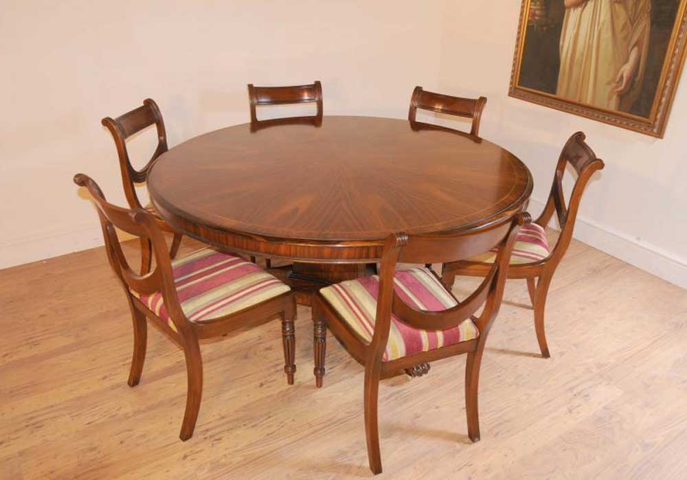 Regency Dining Set Round Table & Mahogany Swag Chairs