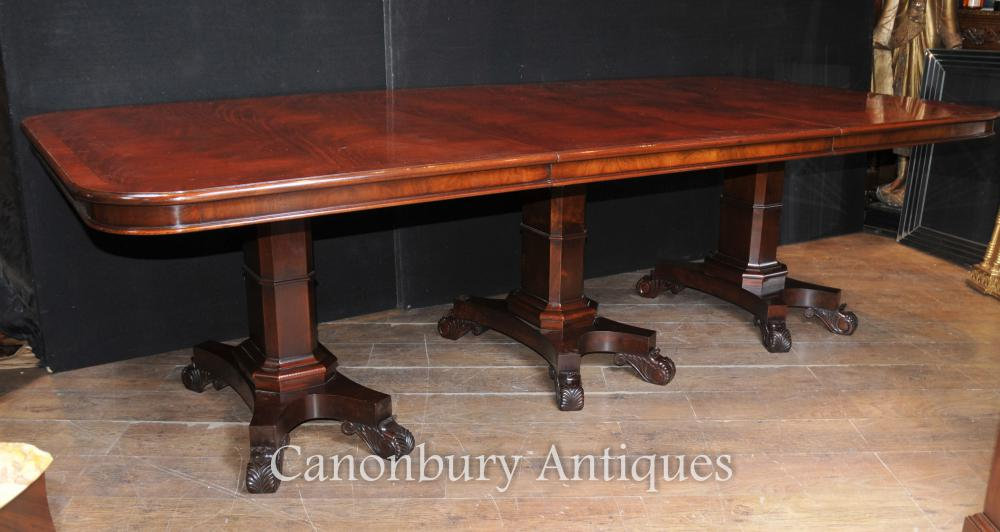 Regency Dining Table Mahogany Triple Pedestal Manner George Bullock