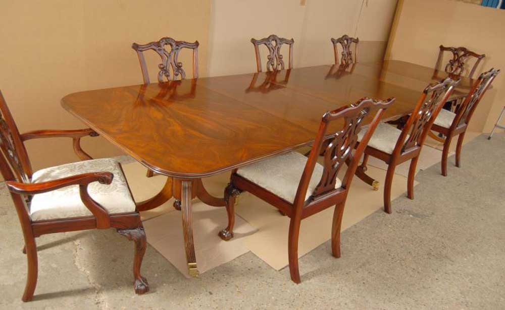 Regency Pedestal Dining Table Chippendale Chair Set