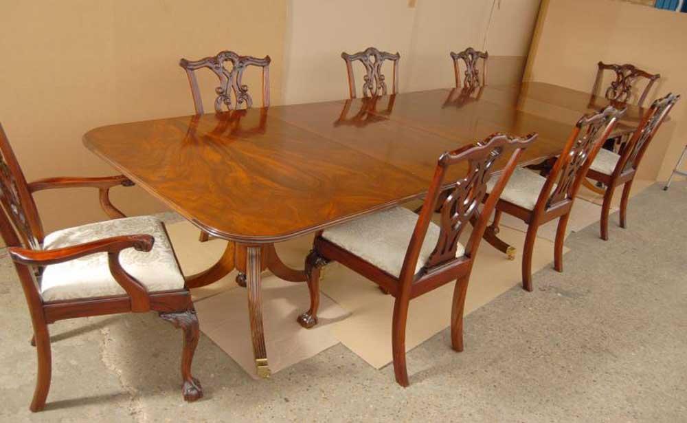regency pedestal dining table chippendale chair set. Black Bedroom Furniture Sets. Home Design Ideas