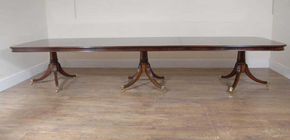 Regency Triple Pedestal Dining Table Seats 14