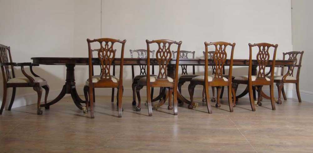 Regency Triple Pedestal Table Set 10 Chippendale Chairs Set