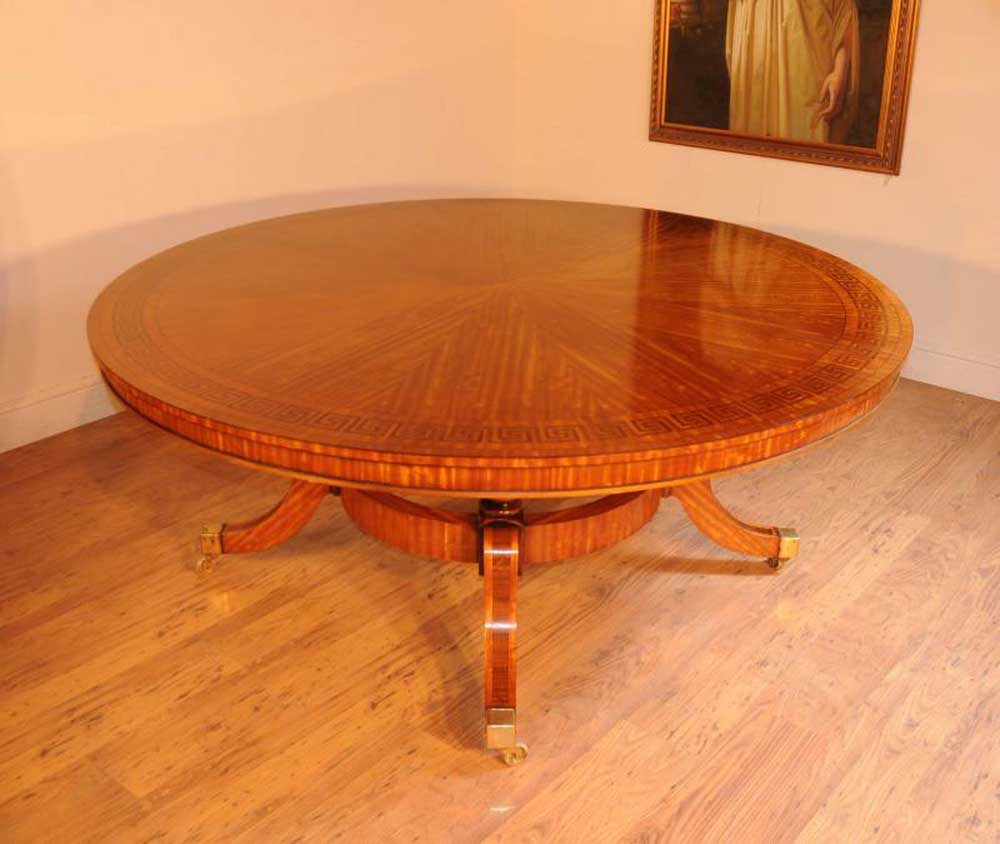 Satinwood Regency Round Dining Table Centre Tables Inlay Furniture