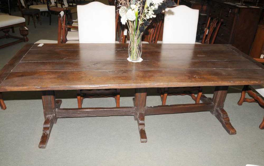 Soild Oak Country Refectory Trestle Table Kitchen Dining