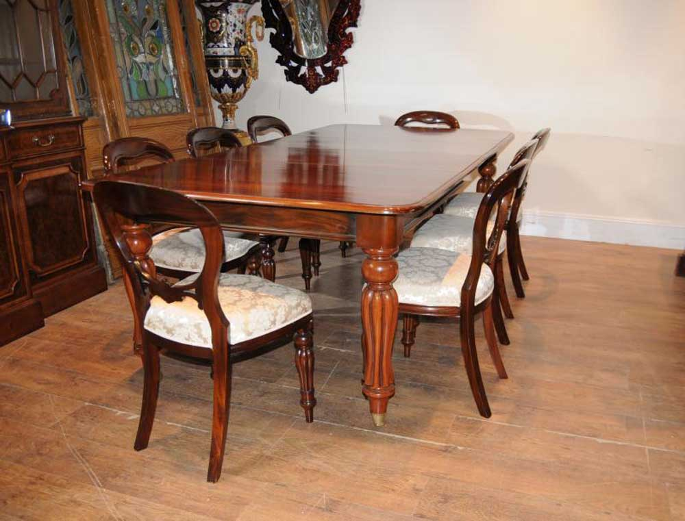 Victorian Mahogany Dining Table Set Chairs Balloon Back