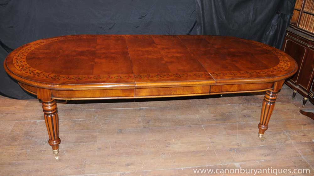 Victorian Walnut Dining Table Extending Tables Marquetry Inlay