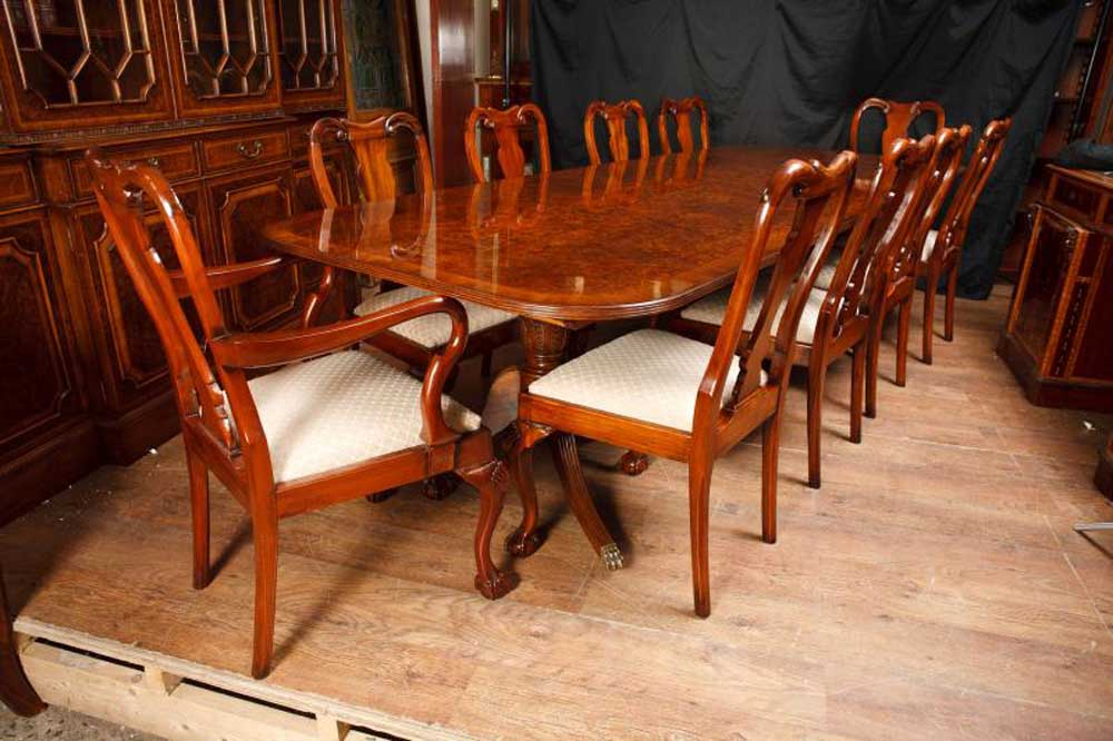 Walnut Dining Set Regency Table & Queen Anne Chairs Suite