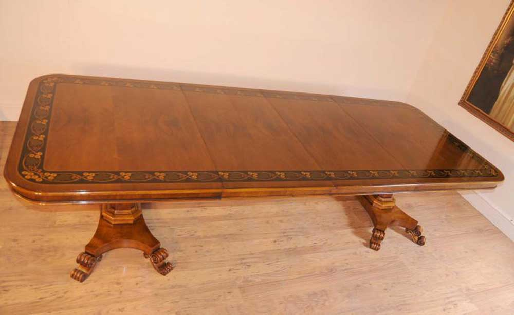Walnut Inlay Regency Pedestal Dining Table 10 Feet