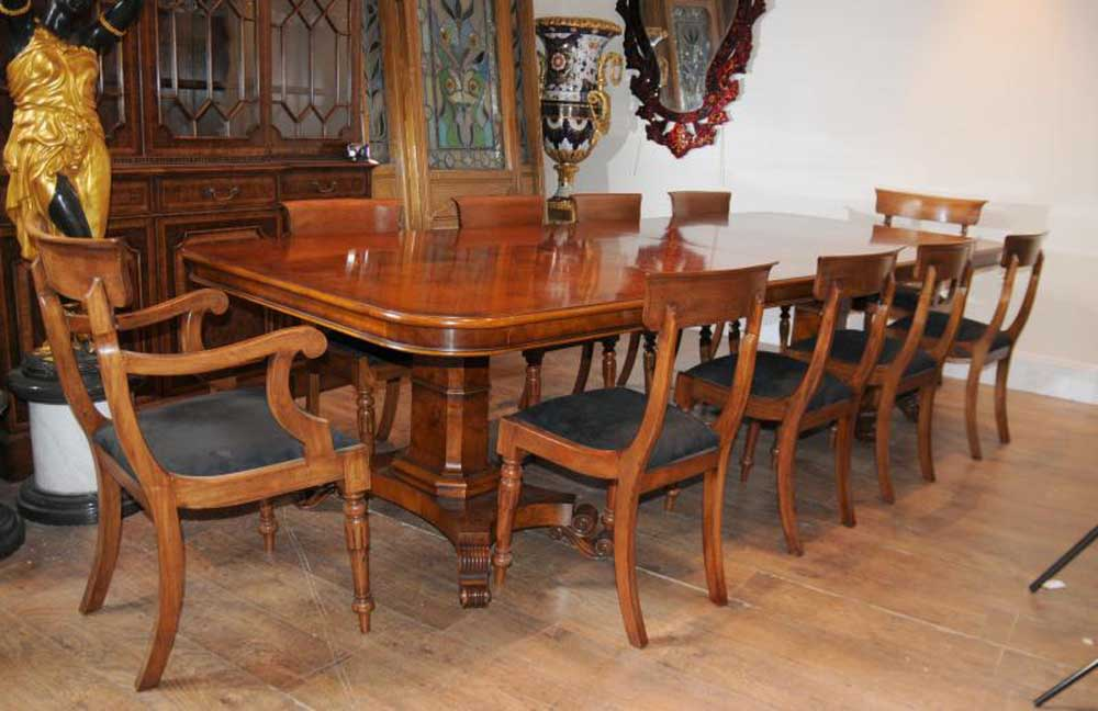 Walnut Regency Dining Table Chairs Set Suite Antique Dining Tables