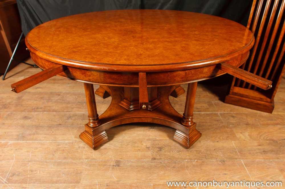 Walnut Regency Jupe Table Extending Round Dining Tables Jupes