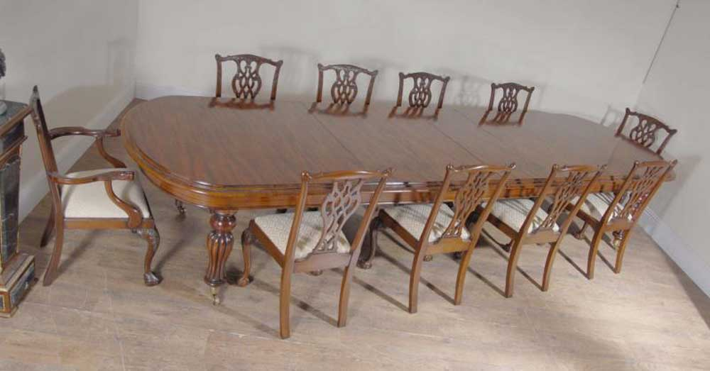 XL English Mahogany Victorian Dining Table & Set Chippendale Chairs