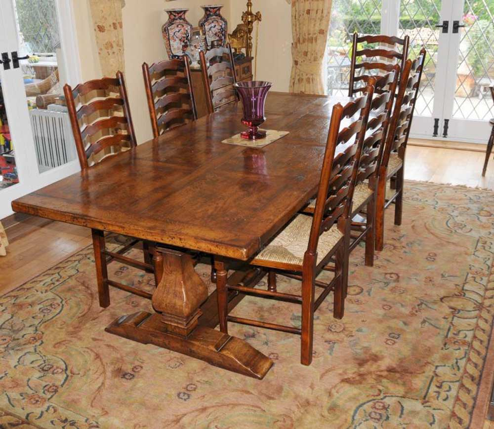 country kitchen dining set country refectory table and ladderback chair dining set 6053